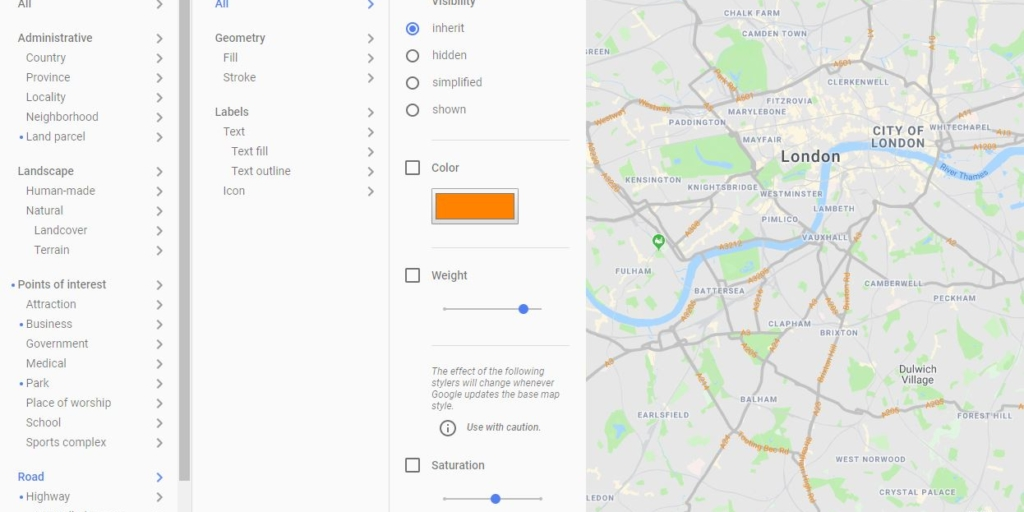 Google Maps API - Syling Wizard Advanced Options